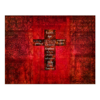 Red Christian Cross Contemporary Religious Art Post Card