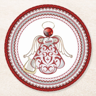 Red Christmas Angel of Song - Filigree Round Paper Coaster