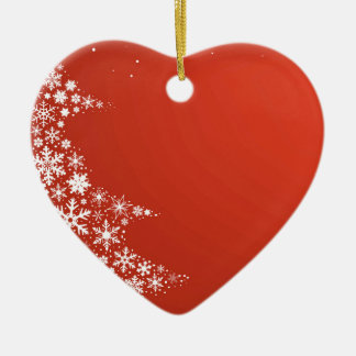 Red Christmas Background Ceramic Ornament