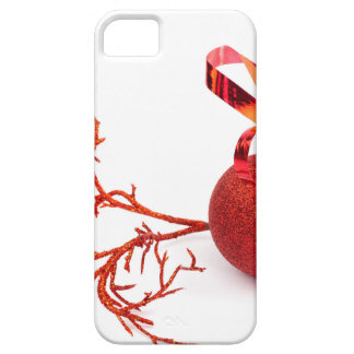 Red christmas ball with twig on white background iPhone 5 case