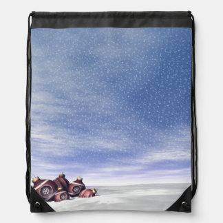 Red Christmas balls - 3D render Drawstring Bag