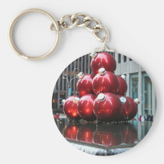 Red Christmas Balls Basic Round Button Key Ring