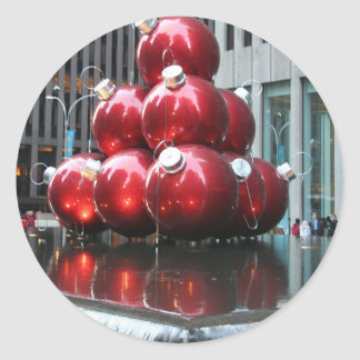 Red Christmas Balls Round Sticker