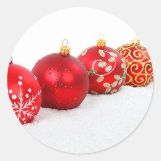 Red Christmas Balls Round Sticker