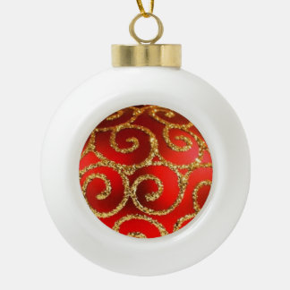 Red Christmas Bauble on Gold Ceramic Ball Decoration