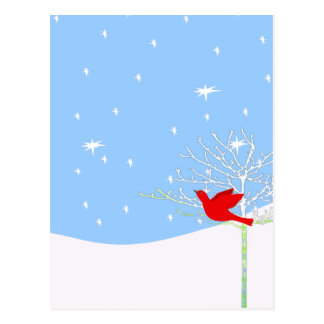 Red Christmas Bird Postcard