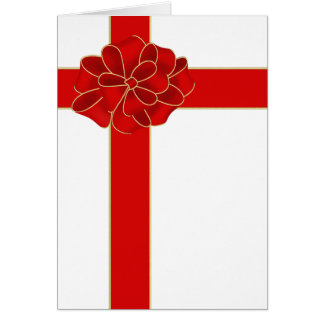 Red Christmas Bow Greeting Card