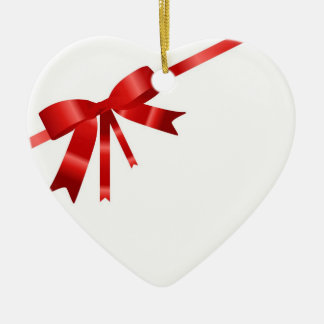 Red Christmas Bow Ceramic Heart Decoration
