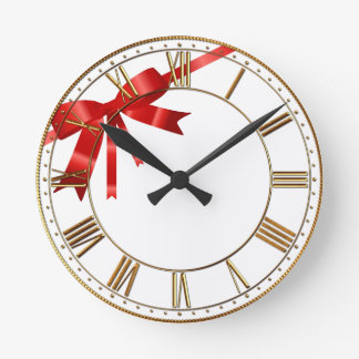 Red Christmas Bow Round Clocks