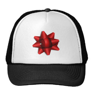 Red Christmas Bow Mesh Hat