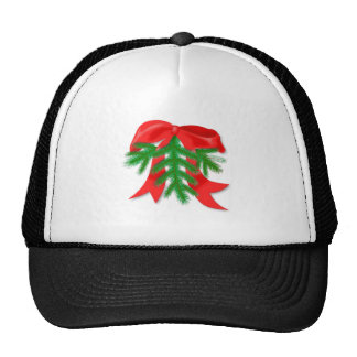 Red Christmas Bow Mesh Hats