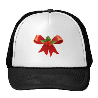 Red Christmas Bow Trucker Hats