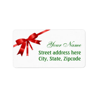 Red Christmas Bow Address Label