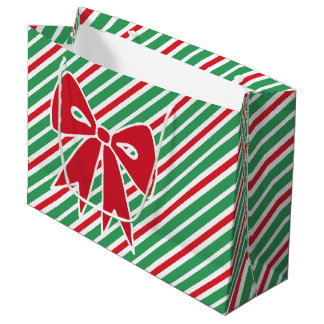 Red Christmas Bow Peppermint Holiday Gift Bag