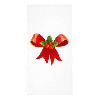 Red Christmas Bow Customized Photo Card