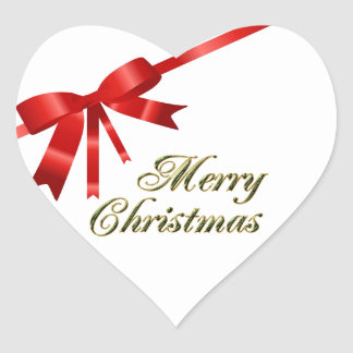 Red Christmas Bow Heart Stickers