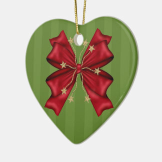 Red Christmas bow with gold stars Ceramic Heart Decoration