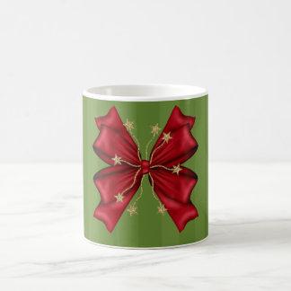 Red Christmas bow with gold stars Basic White Mug
