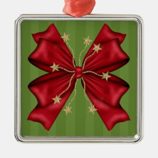 Red Christmas bow with gold stars Silver-Colored Square Decoration