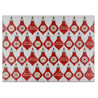 Red Christmas Bulbs Pattern Cutting Board
