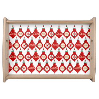 Red Christmas Bulbs Pattern Serving Tray