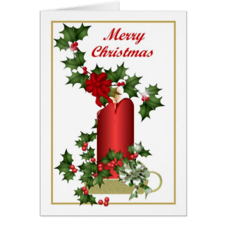 Red Christmas Candle and Holly Greeting Card