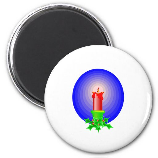 Red Christmas Candle Refrigerator Magnets