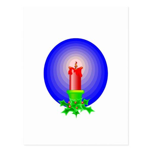 Red Christmas Candle Postcard