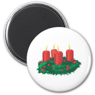 Red Christmas Candles 6 Cm Round Magnet