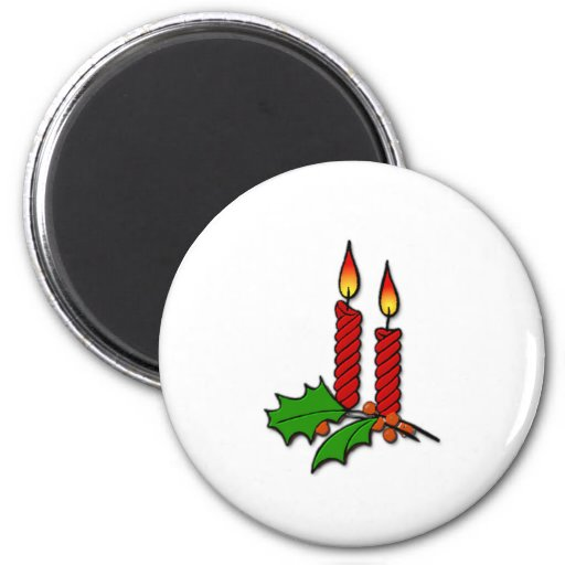 Red Christmas Candles Magnets