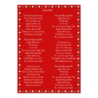 Red Christmas Carol Jingle Bells Christmas Cards 13 Cm X 18 Cm Invitation Card