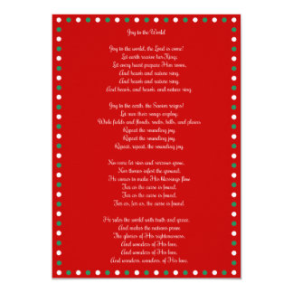 Red Christmas Carol Joy To The World Cards 13 Cm X 18 Cm Invitation Card