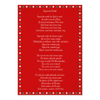 Red Christmas Carol Joy To The World Cards 13 Cm X 18 Cm Invitation Card