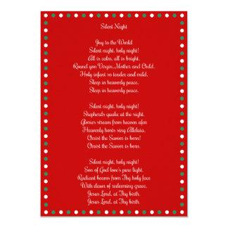 Red Christmas Carol Silent Night Christmas Cards 13 Cm X 18 Cm Invitation Card