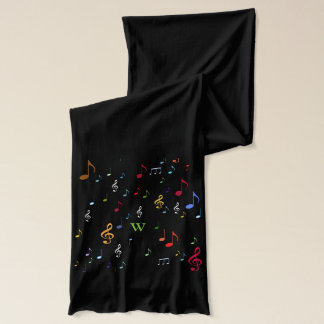 Red Christmas colorful musical notes Scarf