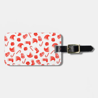 Red Christmas Cute Pattern Holiday Luggage Tag