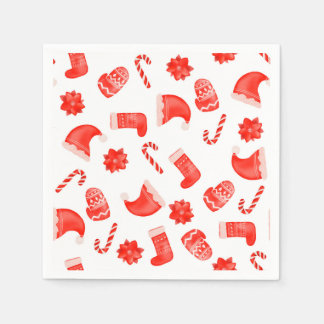 Red Christmas Cute Pattern Holiday Paper Napkin