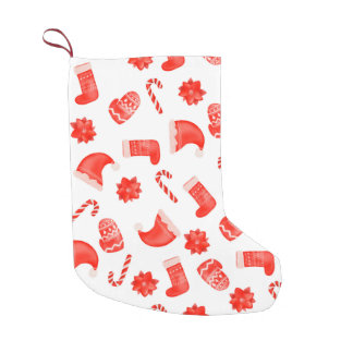 Red Christmas Cute Pattern Holiday Small Christmas Stocking