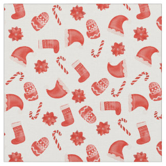 Red Christmas Cute Winter Pattern Holiday Fabric