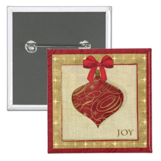 Red Christmas Decoration Peace 15 Cm Square Badge