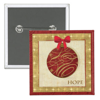 Red Christmas Decorations 15 Cm Square Badge