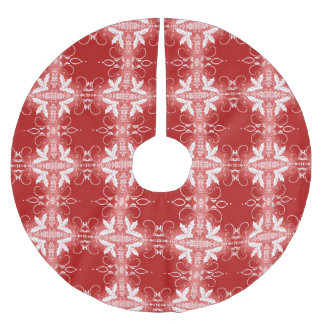 Red Christmas Decorative Ornament abstract pattern Brushed Polyester Tree Skirt