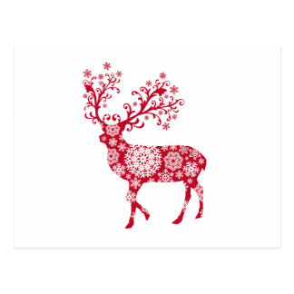Red Christmas deer with snowflakes Postcard