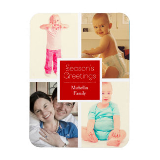 Red Christmas Family Photos Rectangular Photo Magnet