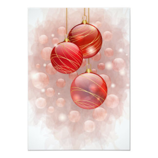 Red Christmas flat card Announcements