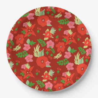 Red Christmas Flora Paper Plates 9 Inch Paper Plate