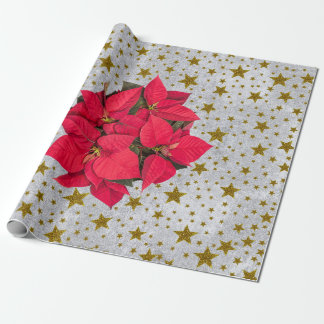 Red Christmas flower gold stars on abstract silver Wrapping Paper