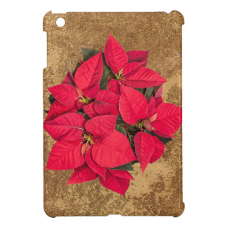 Red Christmas flower on abstract gold Cover For The iPad Mini