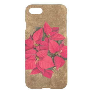 Red Christmas flower on abstract gold iPhone 7 Case