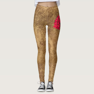 Red Christmas flower on abstract gold paper Leggings